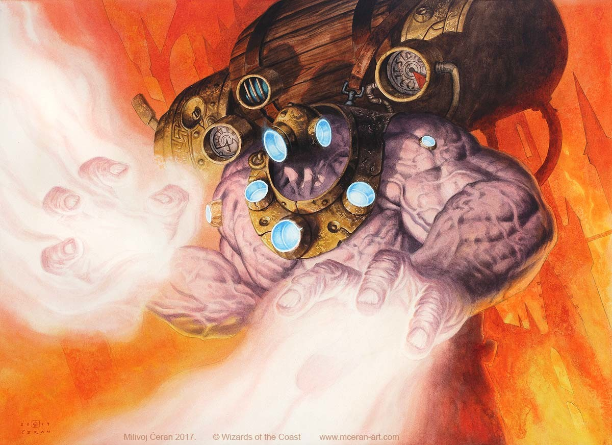 """- """"Erratic Cyclops"""", Milivoj Ćeran, 2017. - 40 x 55 cm (15,7 x 21,5 inches) - acrylic on paper (Fabriano 5, heavy watercolor paper 300 gsm) - mtg, Guilds of Ravnica - art director: Cynthia Sheppard  - © Wizards of the Coast"""