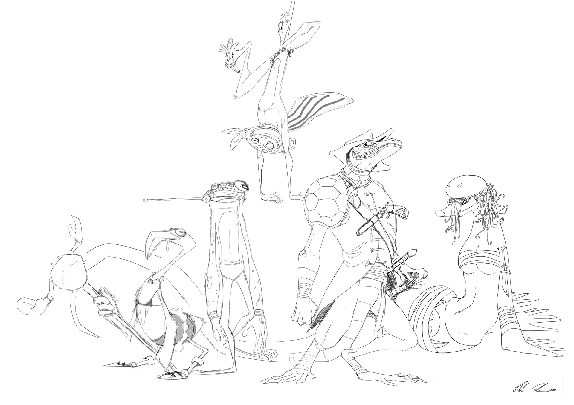 """A weird captain and his mad crew (lineart) - Michele """"Sheet"""" Poli"""