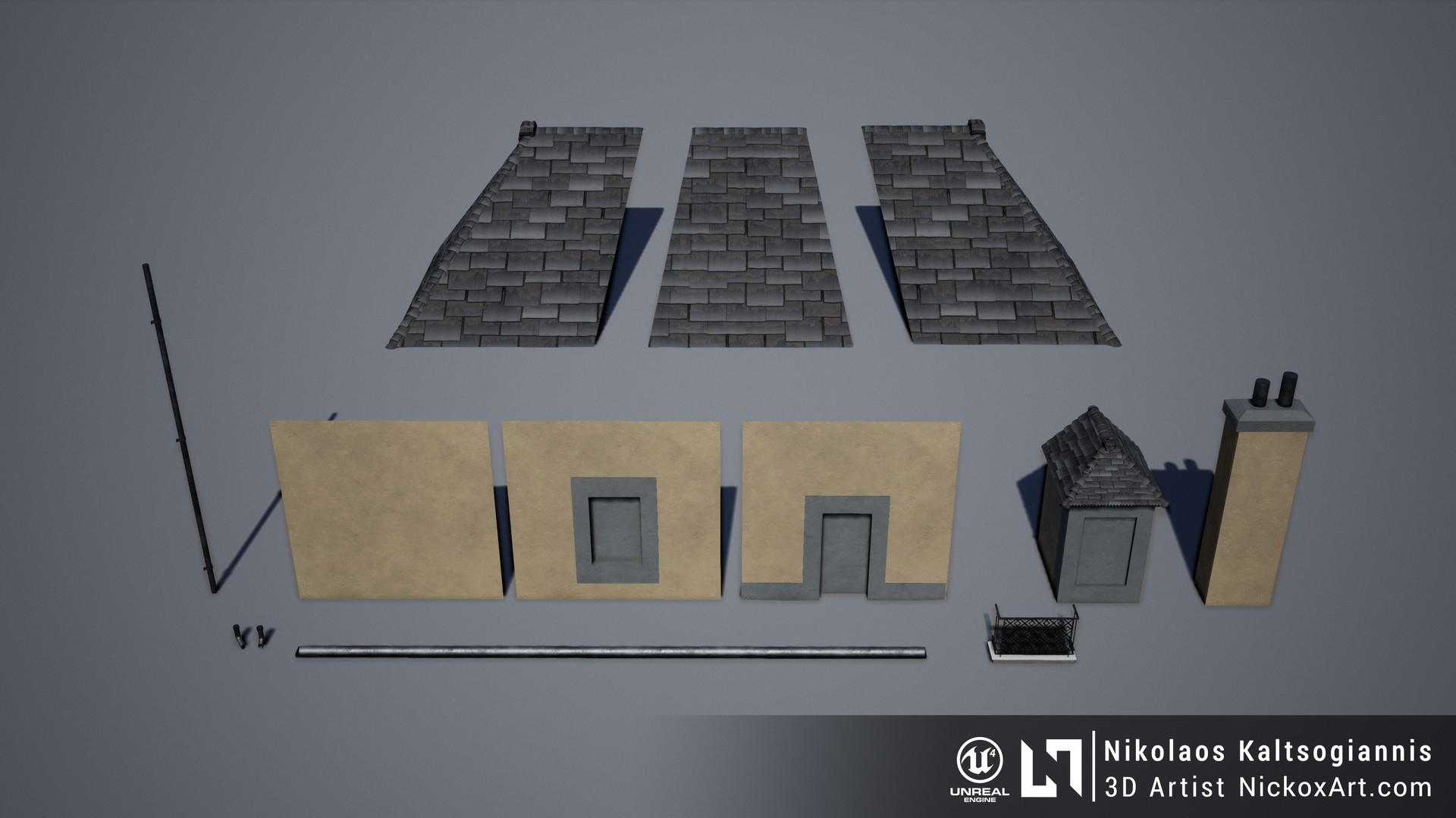 Modular Meshes used to create the village Building.
