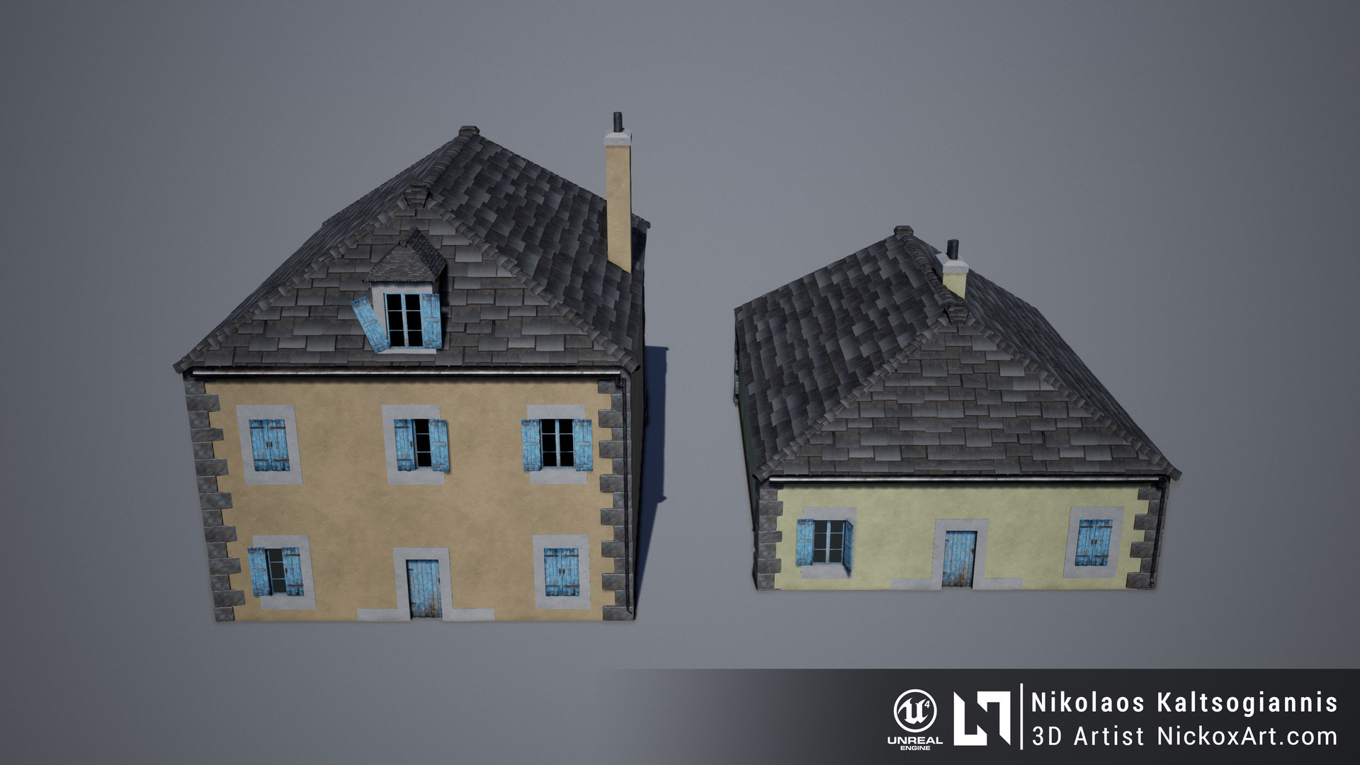 Example of buildings created using the modular set.