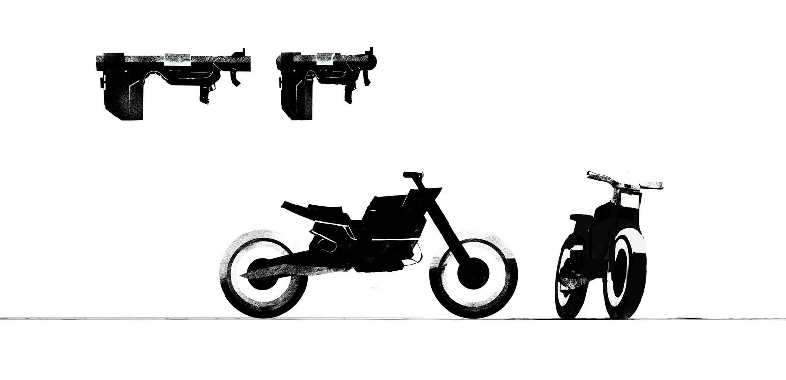 A truck, a motorbike, a girl, a bazooka and a tank.