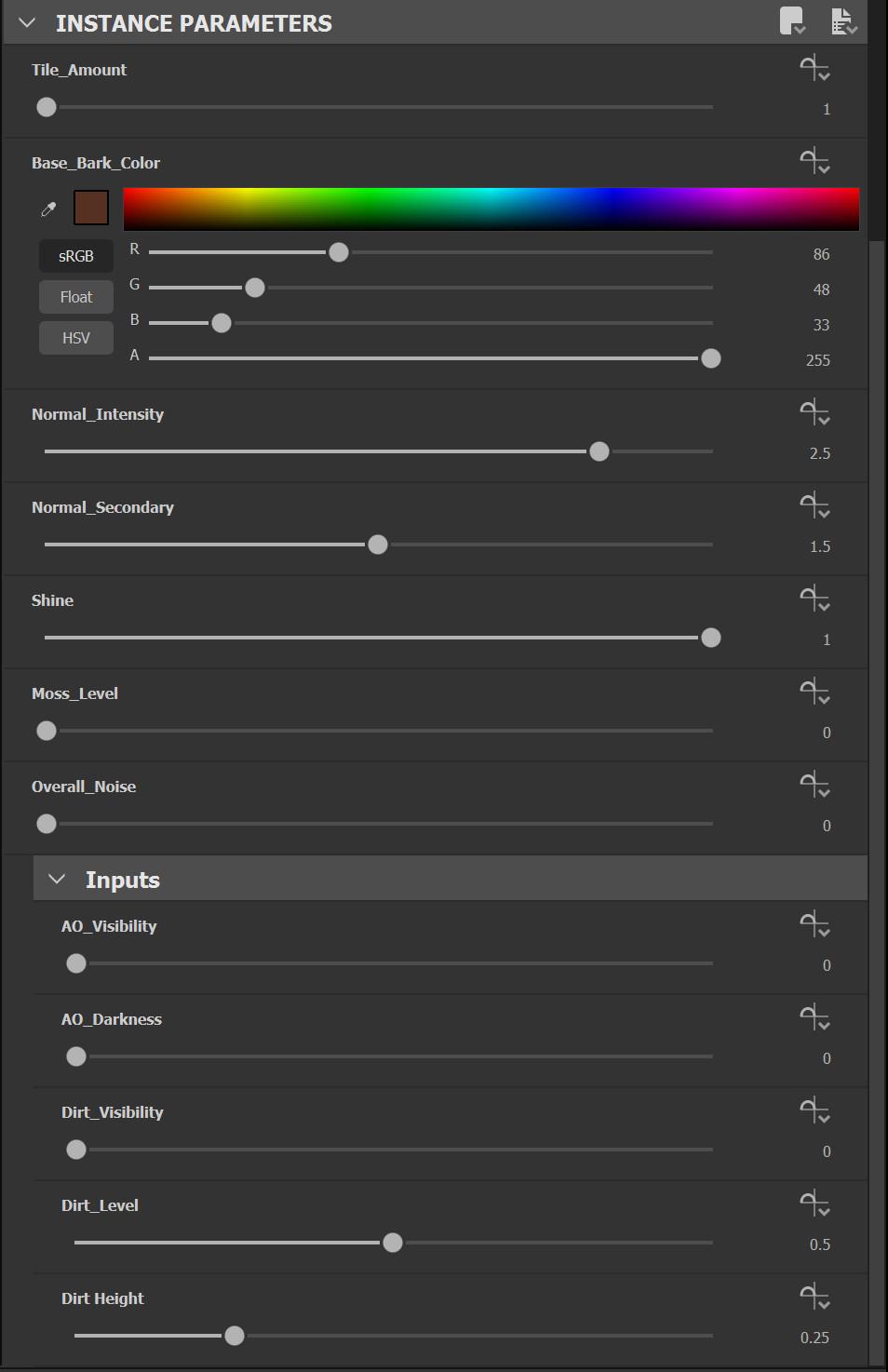 Exposed options in Substance Designer.  https://gum.co/JCRoughBarkSBSAR