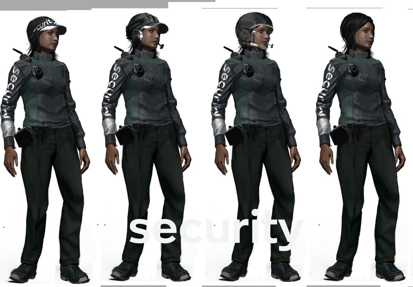 Security Guard headgear variants