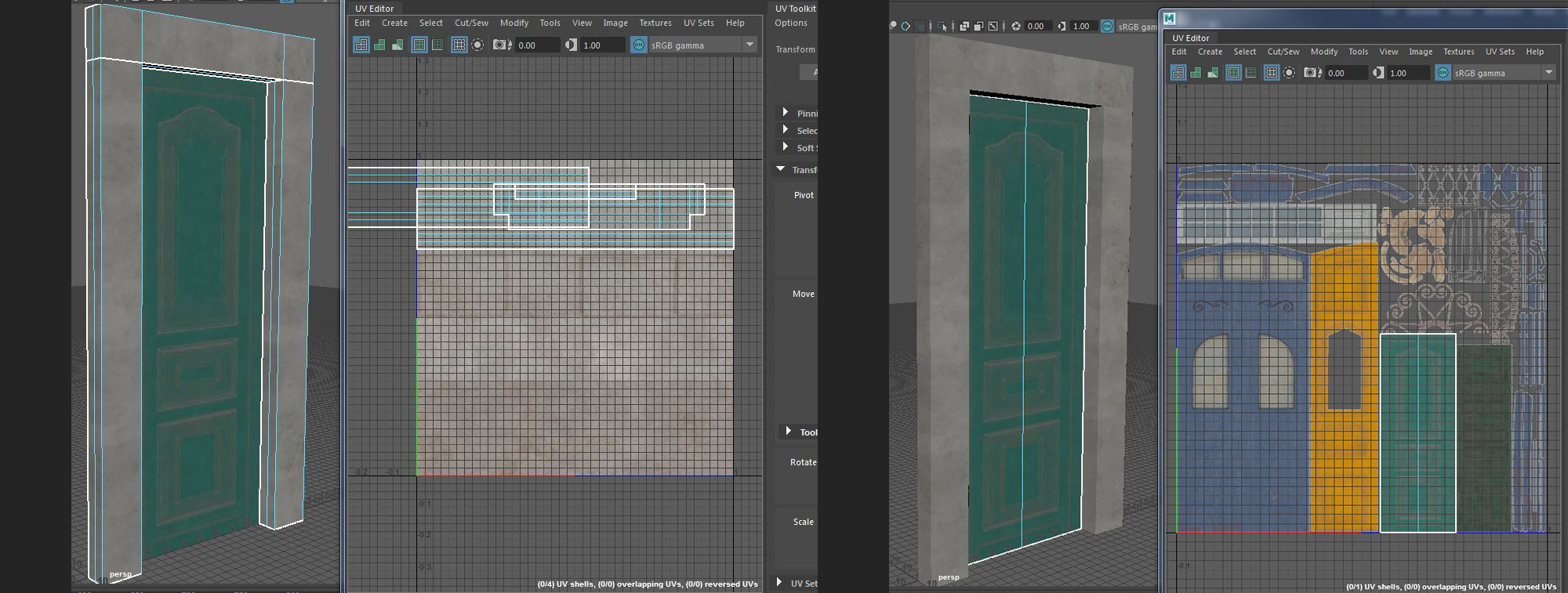 Setup of door UVs - trim sheet and door textures