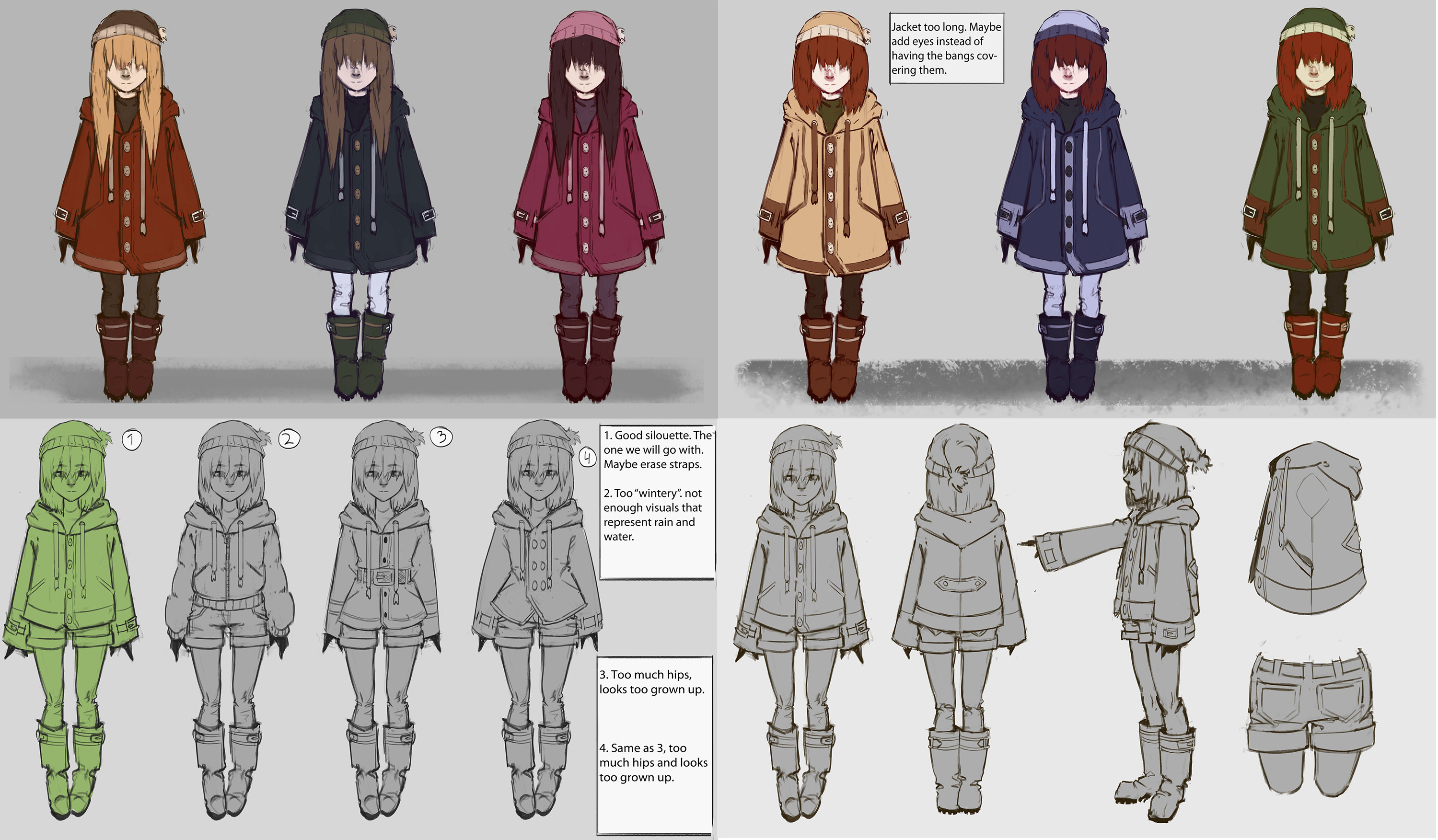 Earlier concepts for the character. We first wanted to give the character a sense of anonymity and cover her eyes, as well give her a raincoat to fit the theme. The coat was later changed to make it easier to rigg and animate.