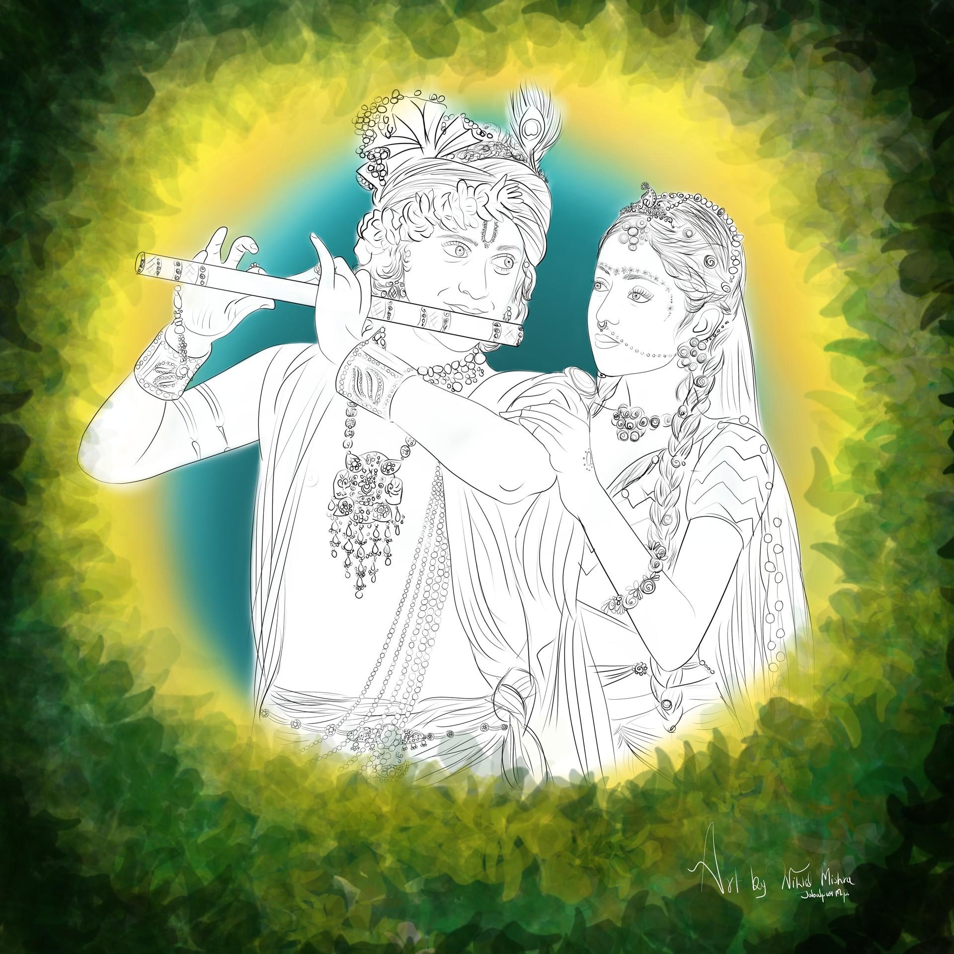 Nikhil Mishra - line art of Radhakrishna, Radhakrishnan serial on