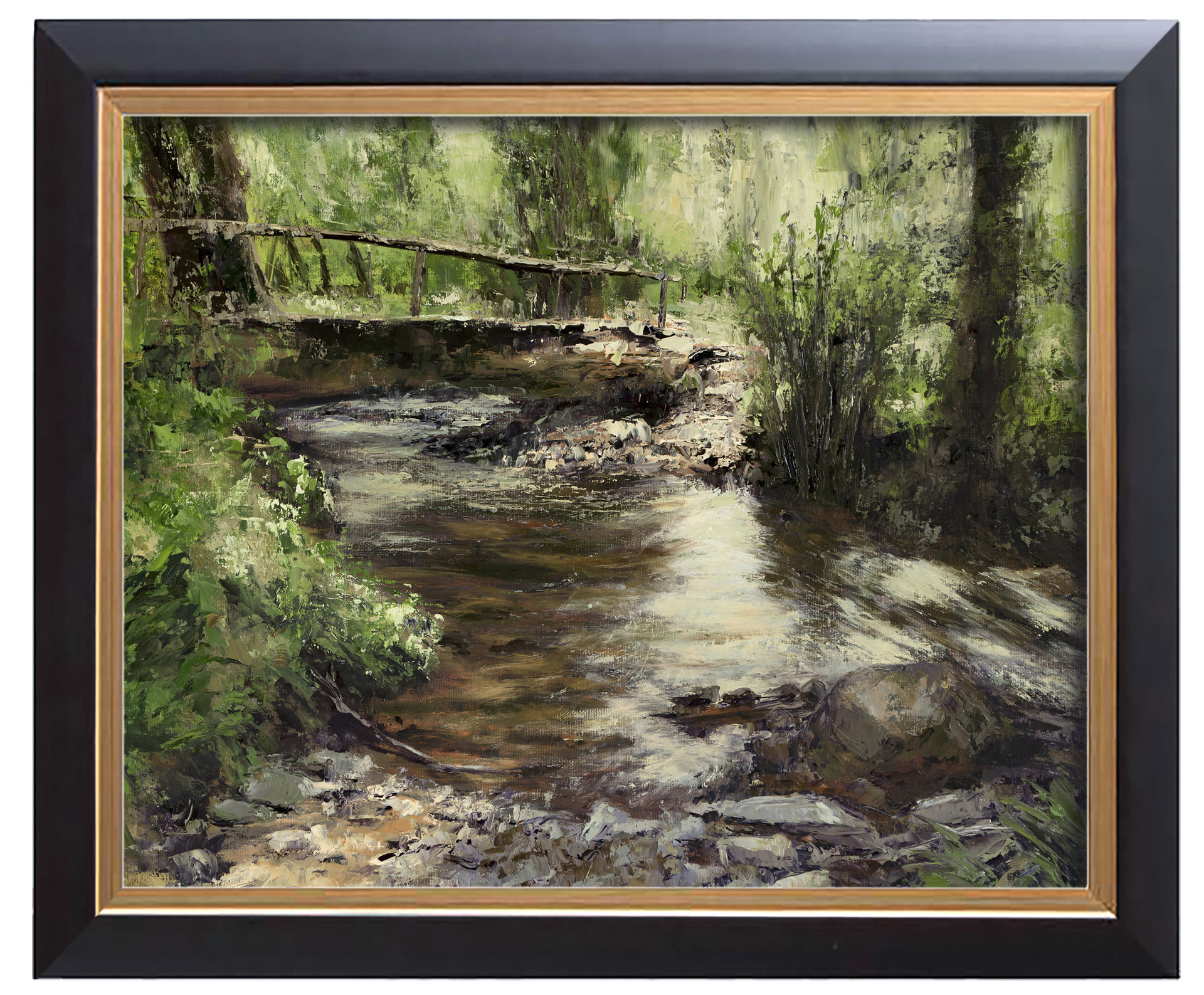 Arthur haas arthur haas bridge over brook framed small
