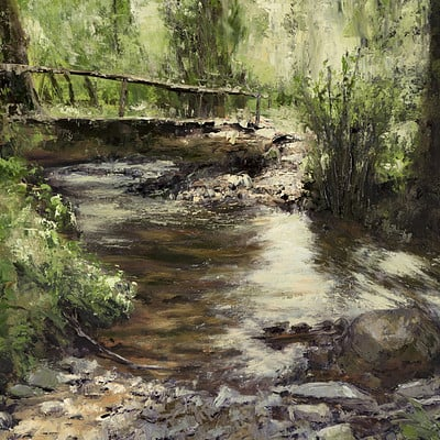 "Bridge over brook -for sale 15.7x19.6"" (40x50cm)"