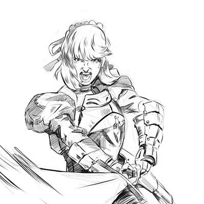Mateusz michalski knigh sketch daily16 saber