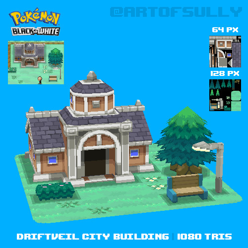 Driftveil City Building (Pokemon Black/White Fanart)
