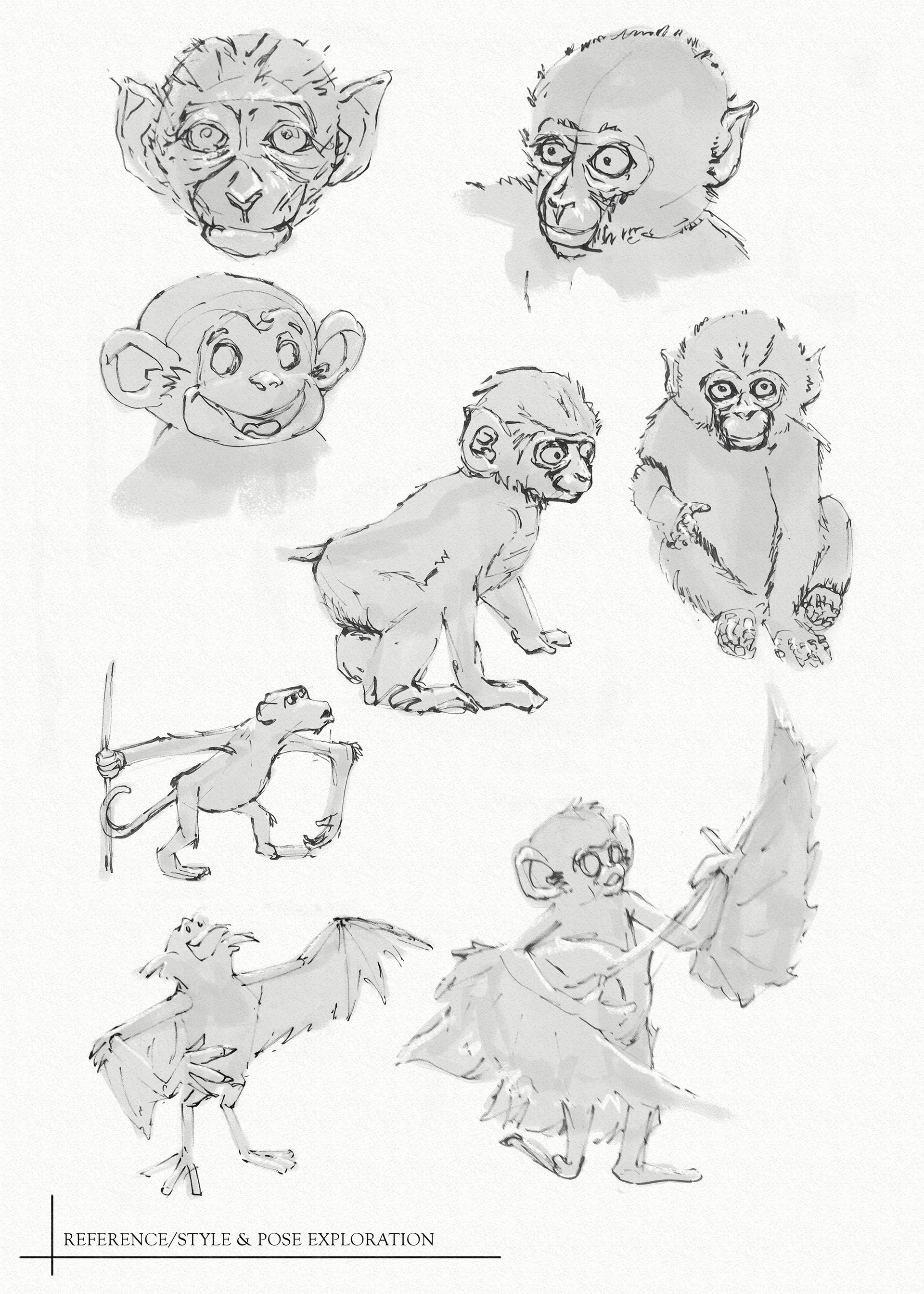 Matthew trickel monkey reference style pose exploration web
