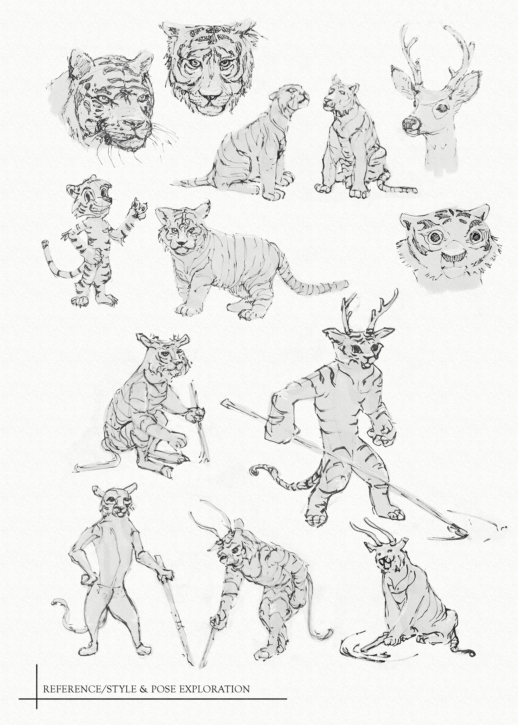Matthew trickel tiger reference style pose exploration web