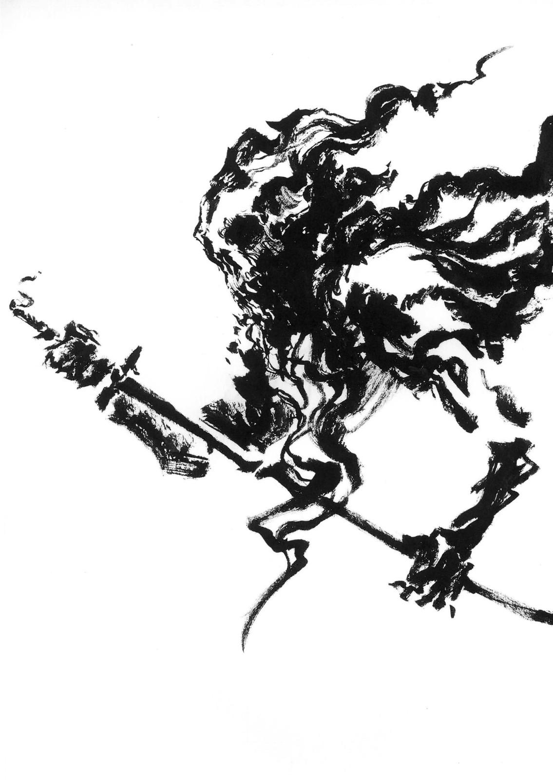 Lee Dabeen. Skull Swordman. 2018. Pen on paper, 297 x 210 mm.