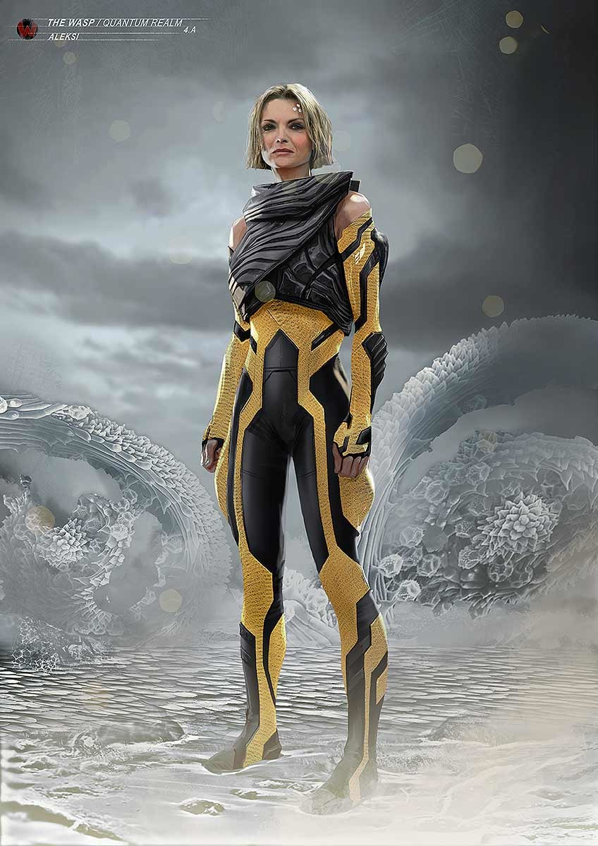 Here it's still a really hi tech suit with the color palette referring to wasps : yellow and black.