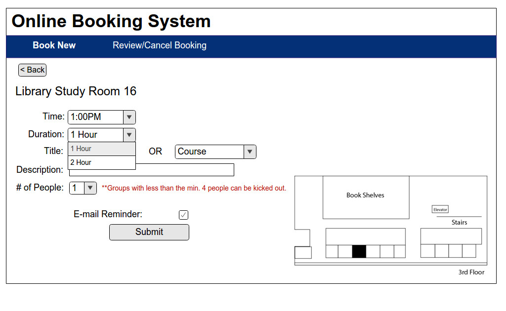 Booking Information page by Hour