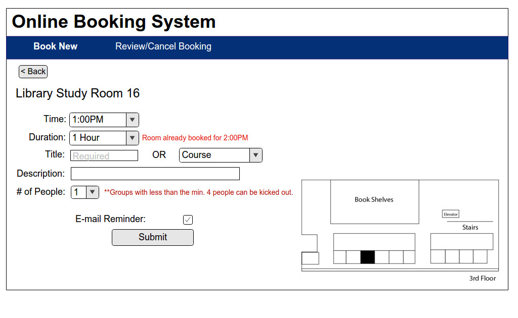 Booking Information page with feedback on why Student is unable to book room for a longer period of time.
