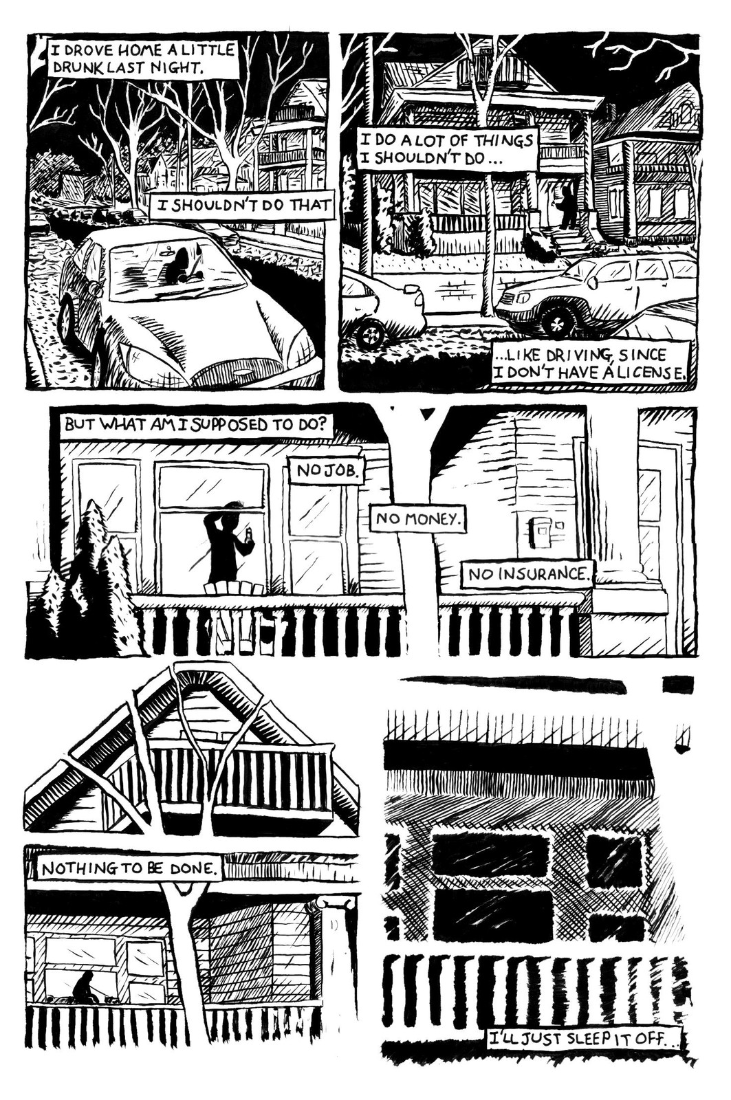 One of the single-page stories. Drawn using brush and ink, touched up digitally.
