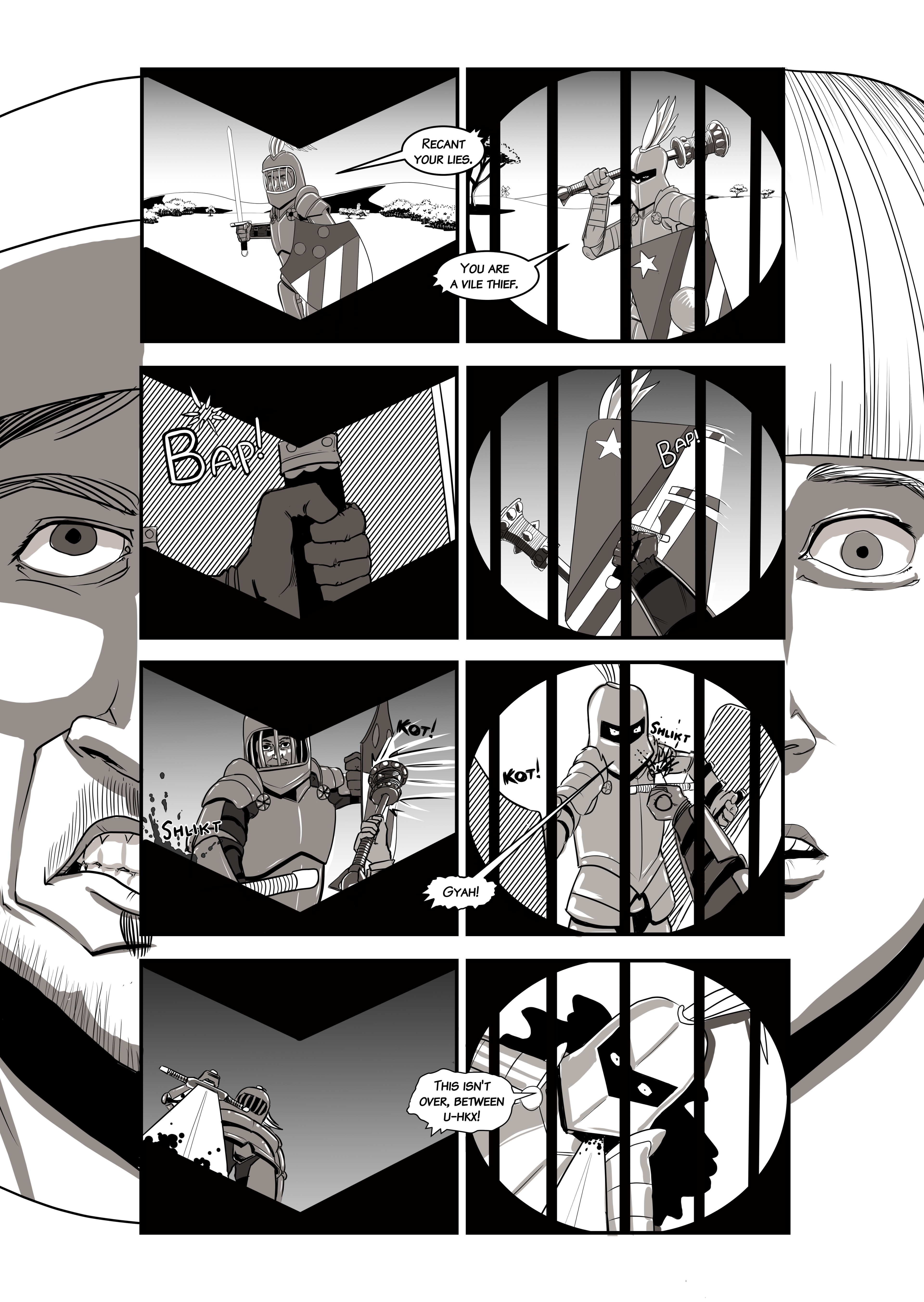 """Page 2 of """"Debts Owed,"""" a short comic story for the upcoming online game Chronicles of Elyria."""