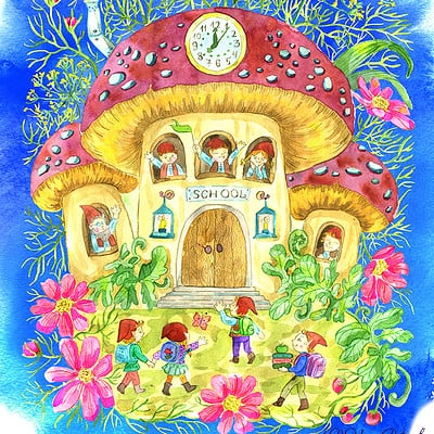Vera petruk samiramay cute school in mushroom flowers and little gnomes pupils at blue background