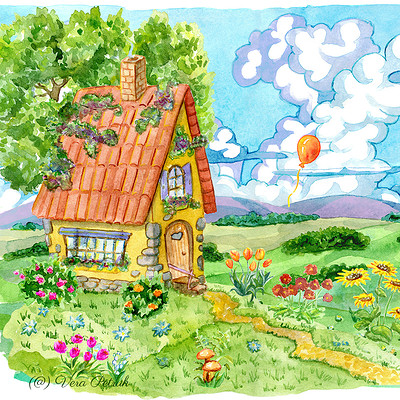Vera petruk samiramay 05 beautiful house with well tree and garden flowers against the summer field and ballon in sky