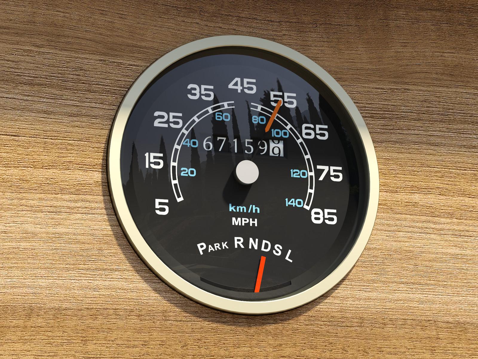 Built with SketchUp 2018, rendered with SketchUp + 2017 Thea Render V2 1977 GMC Motorhome speedometer V2017-Scene 4 Presto 8m9s 1024sp