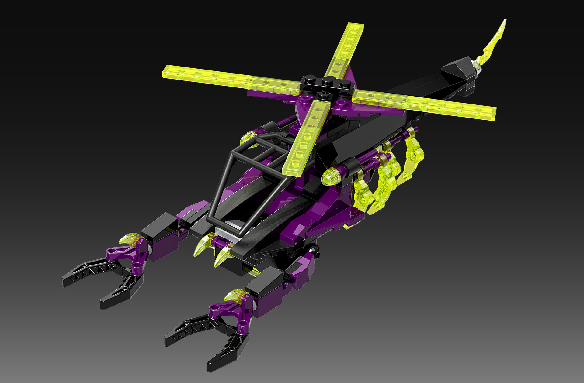 Marion wood helicopter neon render