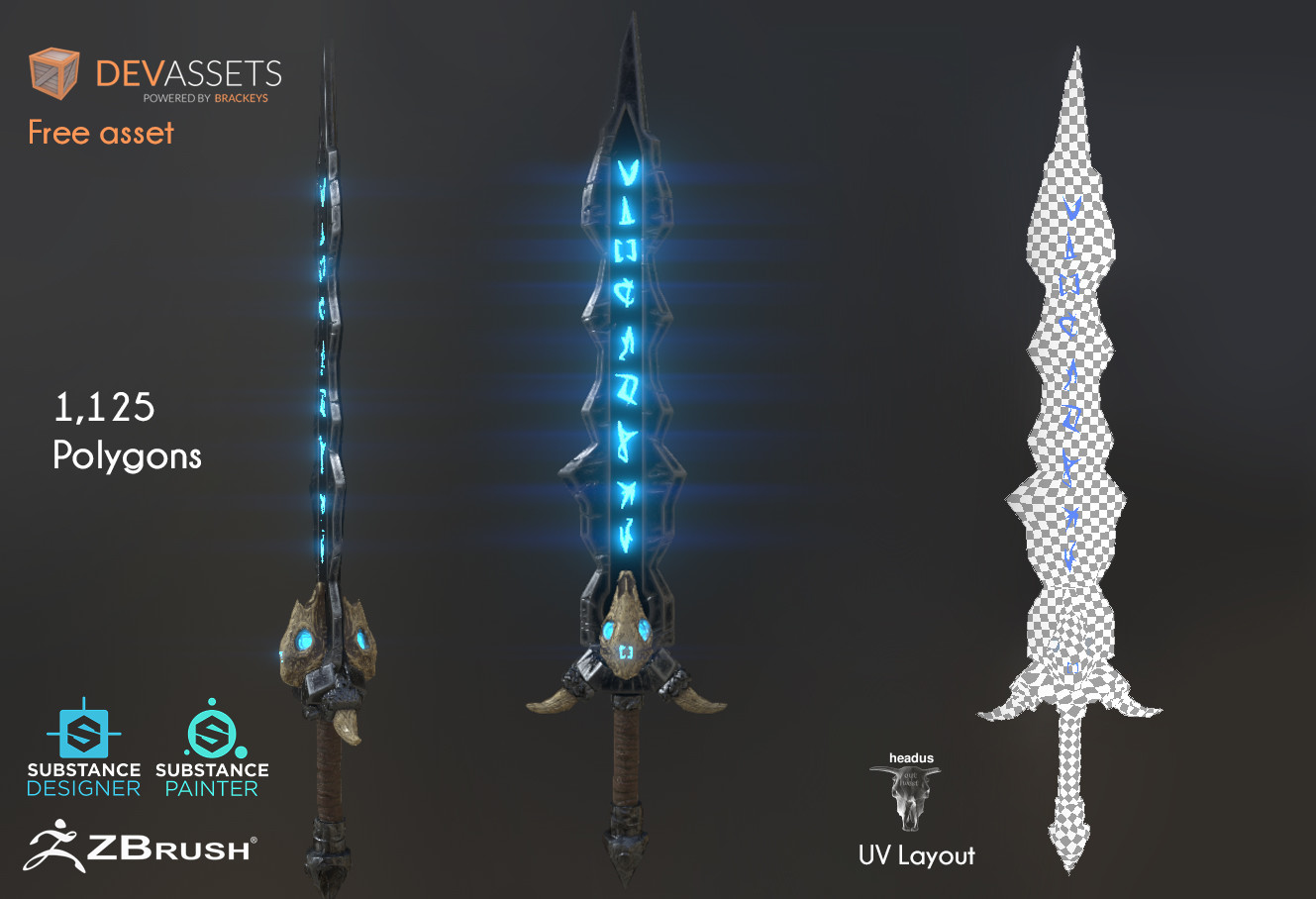 ArtStation - Rune weapons Game assets low poly Download on https