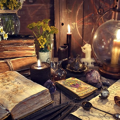 Vera petruk samiramay 01 still life with old fashioned lamp magic witch books tarot cards and old papers