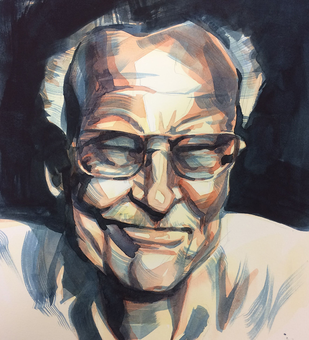 Caleb prochnow stan lee watercolor portrait