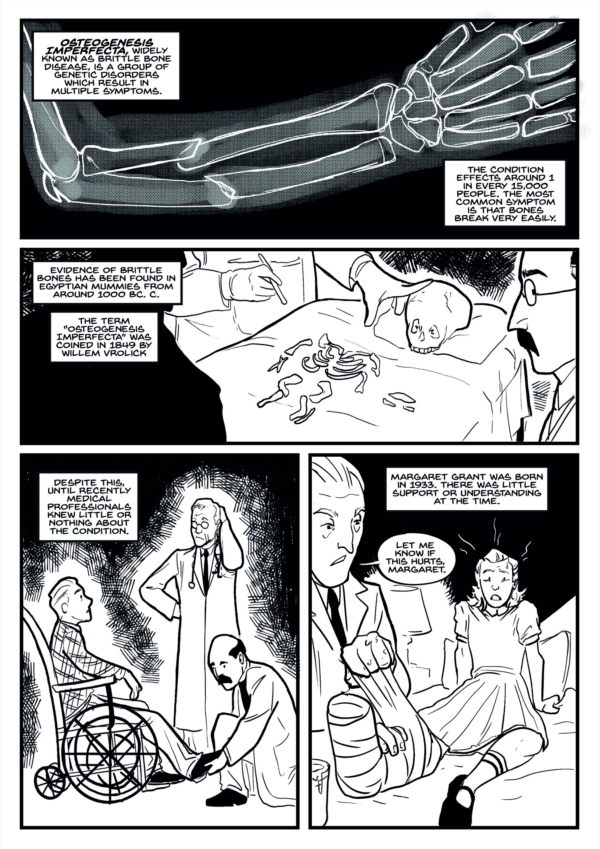 Elliot balson brittle bone society comic page 1 inks