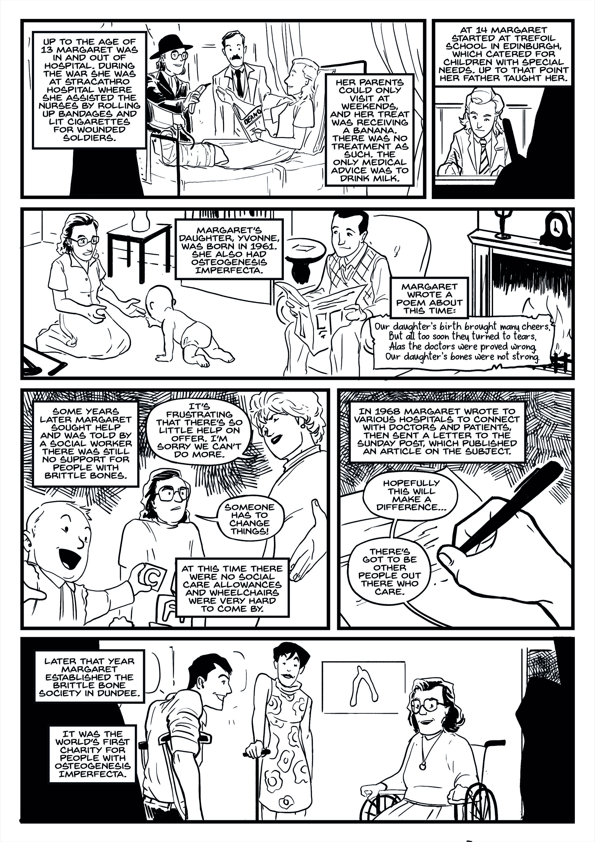 Elliot balson brittle bone society comic page 2 inks