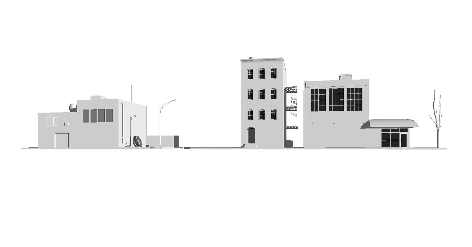 Old Sketchup scene - re-rendered in 2D and inverted to create foreground.