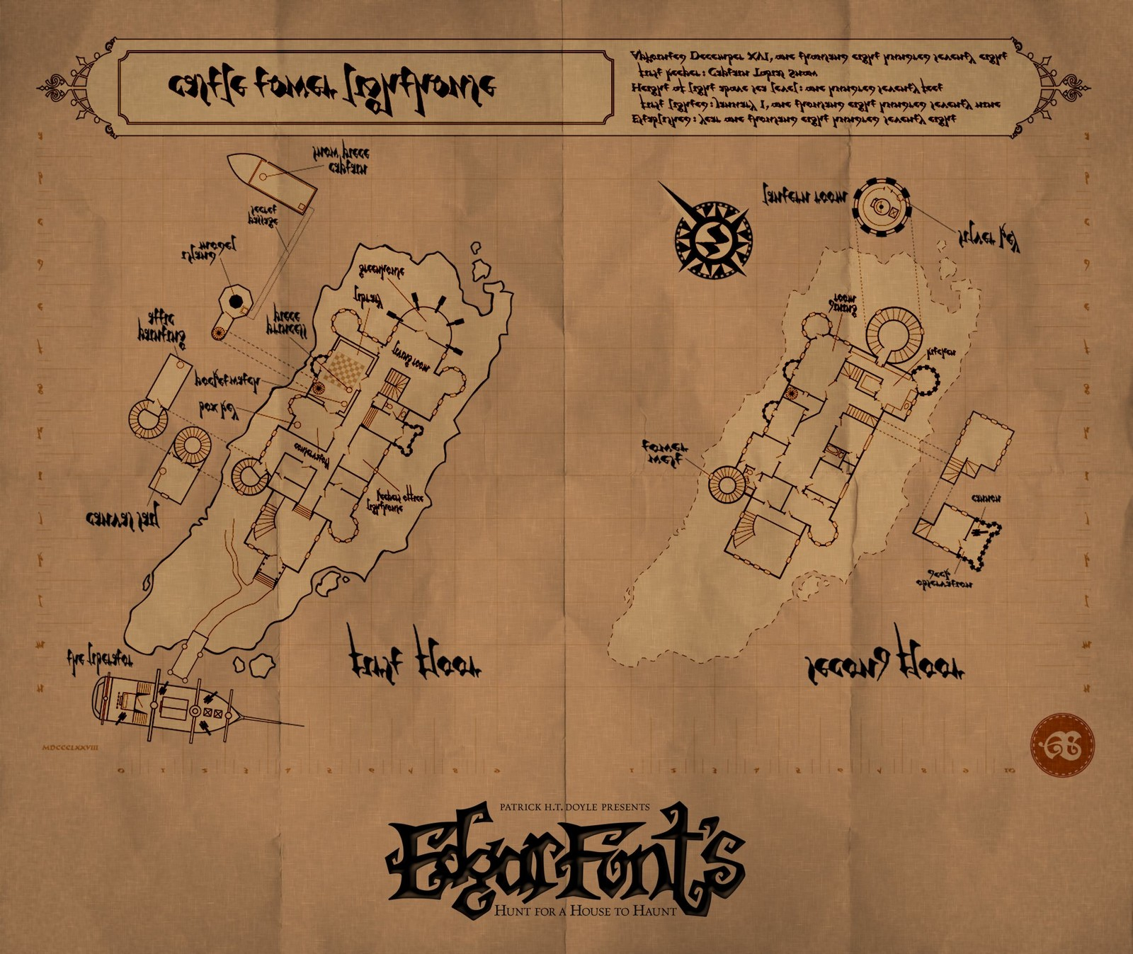 The map of the castle I created for the adventure.