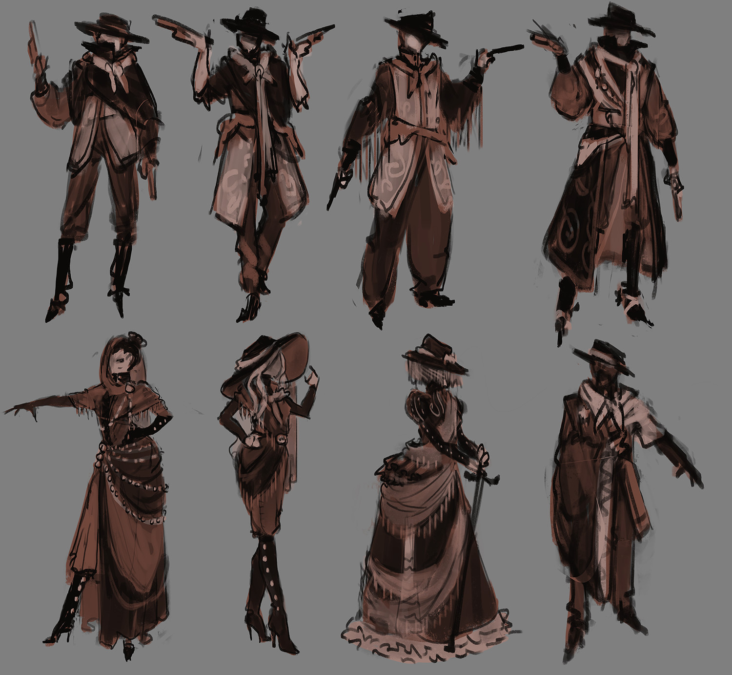 Early thumbnails sketches of characters.