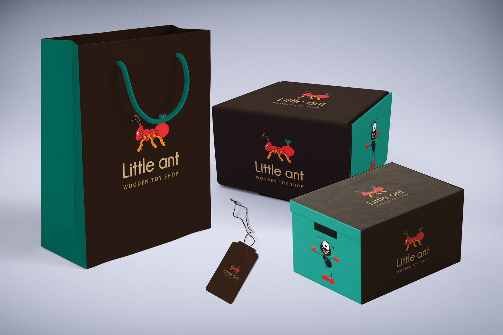 LITTLE ANT WOODEN TOY SHOP PACKAGE DESIGN