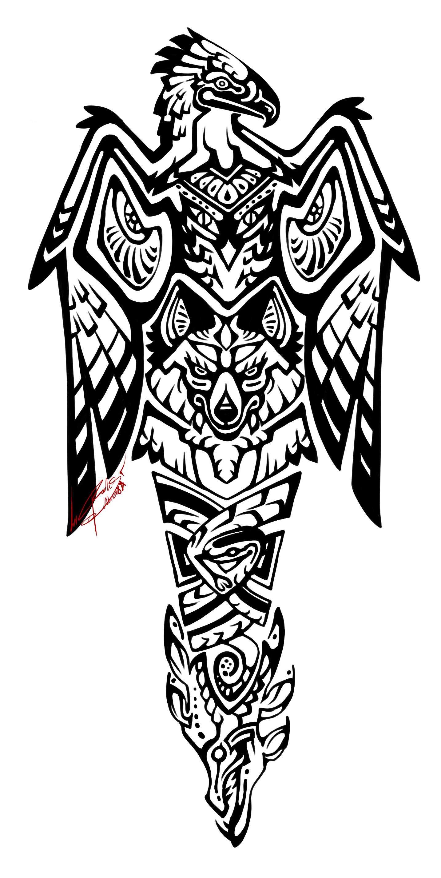 Rookshock Moore Totem Pole Tattoo