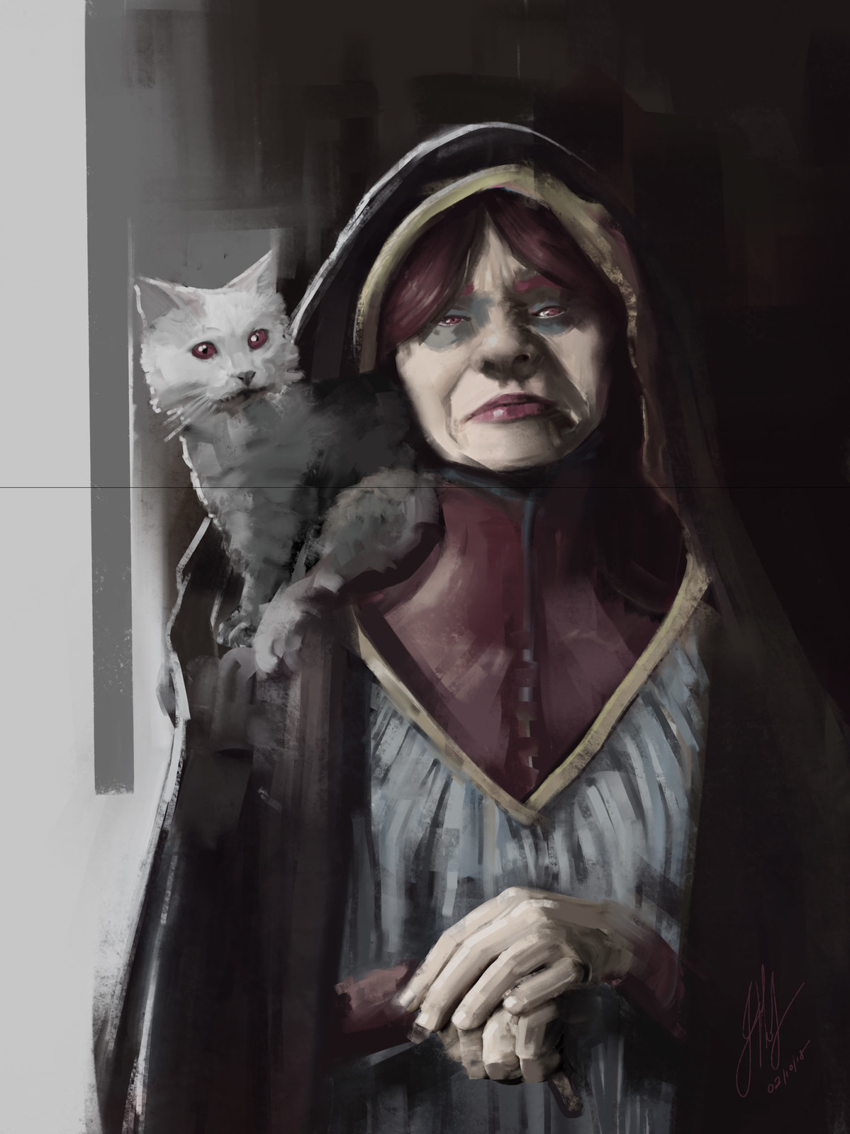 A witch and her cate