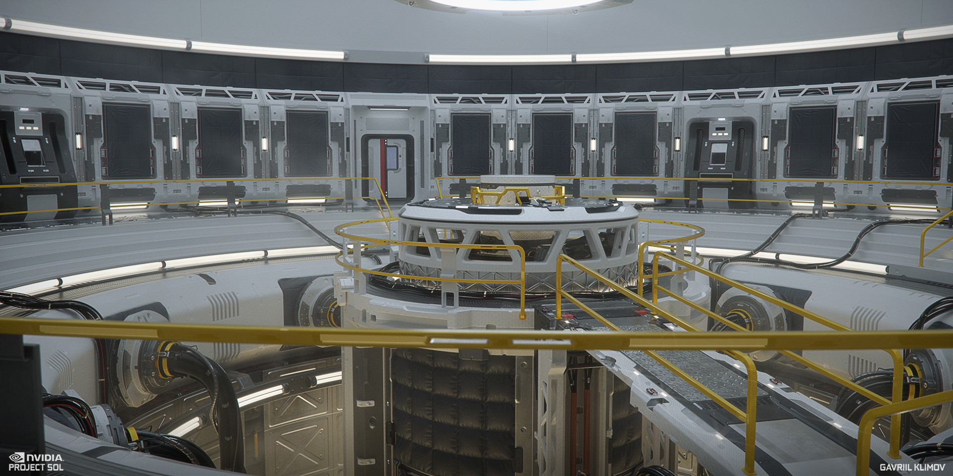 Another test render of the scene mostly assembled together. Octane renderer.  At this point the external wall paddings, outer PC stations as well as exit doors and floor cables were also added. Some of these were a collaboration with Andrej Stefancik
