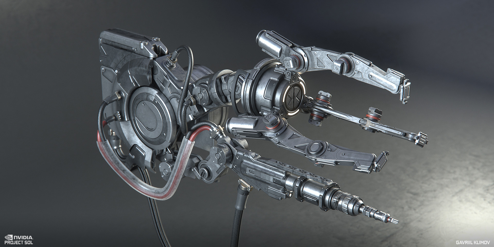 As part of the material vis-dev work, I have textured and shaded a lot of the designs crated by other team members to guide the final look in engine. This is the servo arm's hand mechanism, designed and modeled by Gregor Kopka. Rendered in Octane
