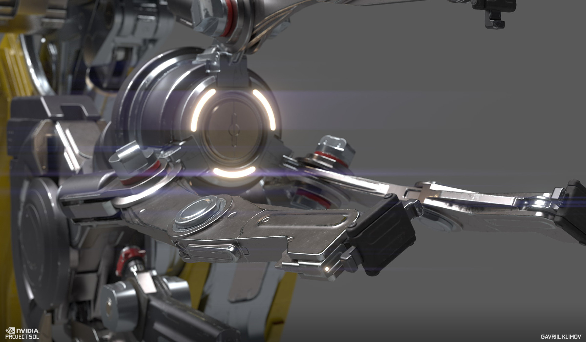 An example of the final real-time mesh of the robot arm, designed by Gregor Kopka and textured by Jacob Norris, following my vis-dev guidance