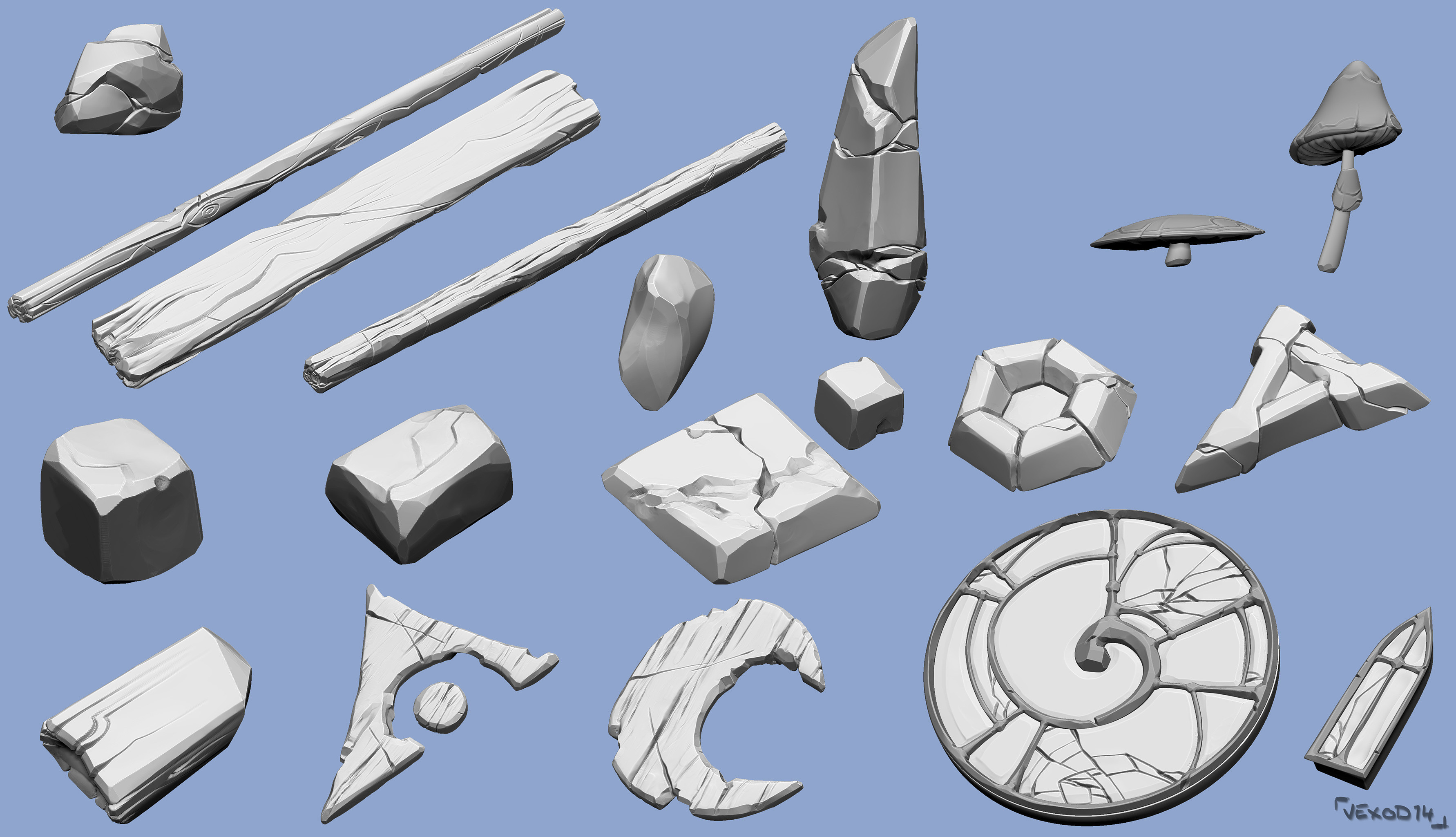 All sculpted assets I made =)