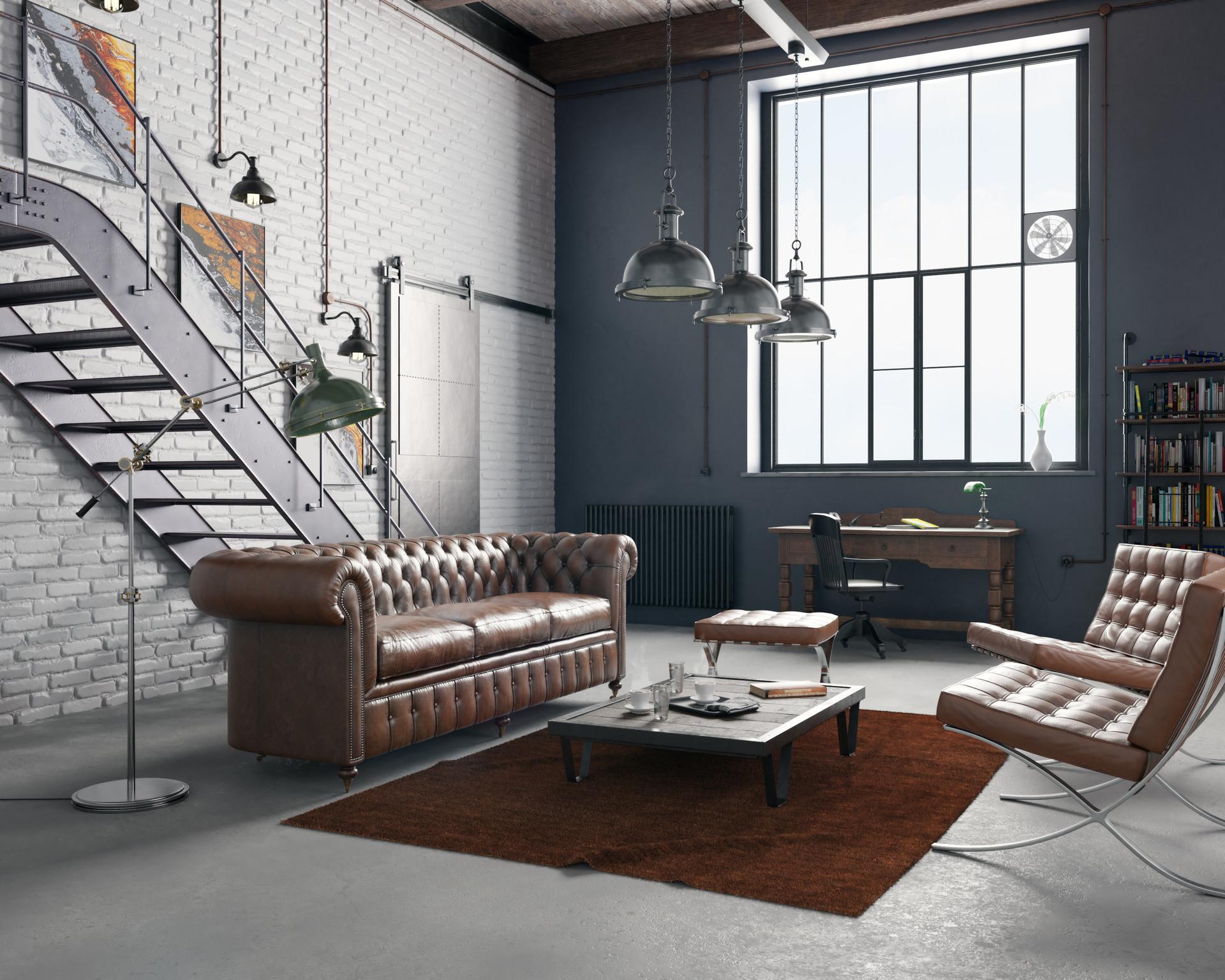 ArtStation - Industrial Loft with vintage furniture, Nick Mez