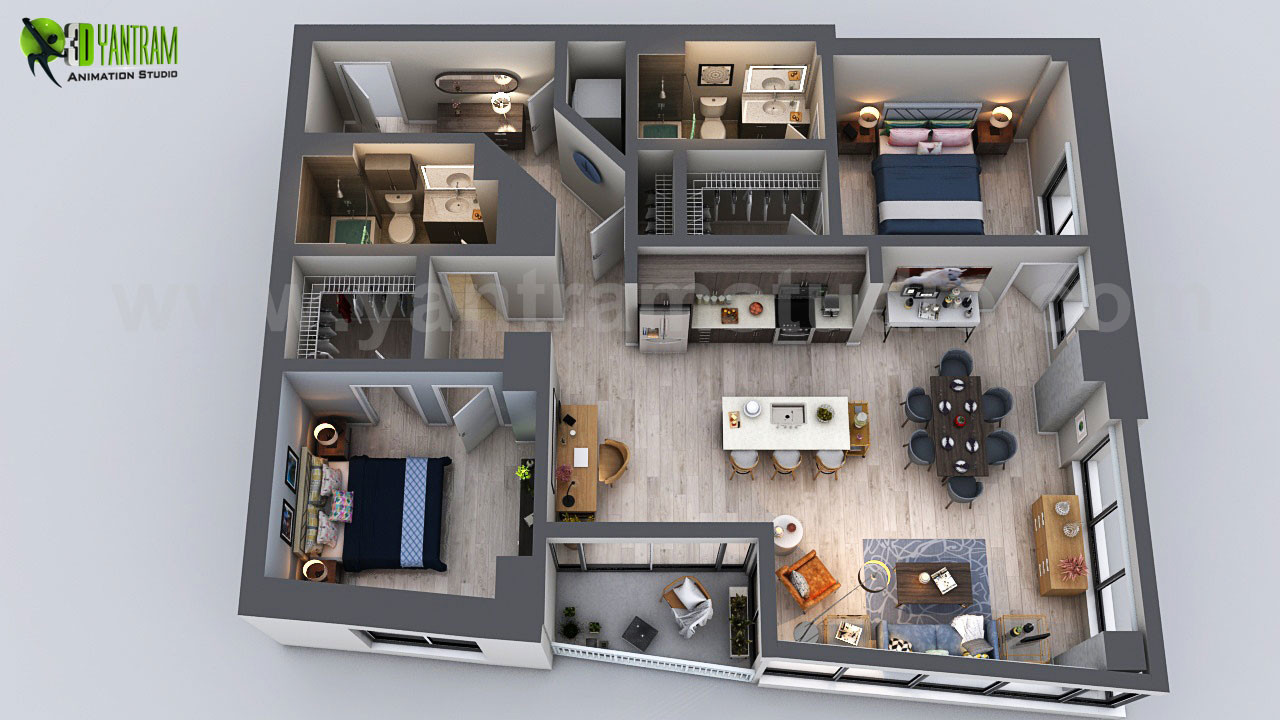 ArtStation - Unique Residential Apartment 3D Floor Plan ...