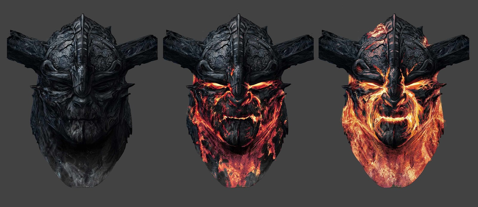 Some exploration of Surtur face for Thor Ragnarok. The idea was that when still this character would be covered by dried dark lava. And then some cracks revealing the hot core beneath are appearing when he is moving and when his expression is changing. Ba