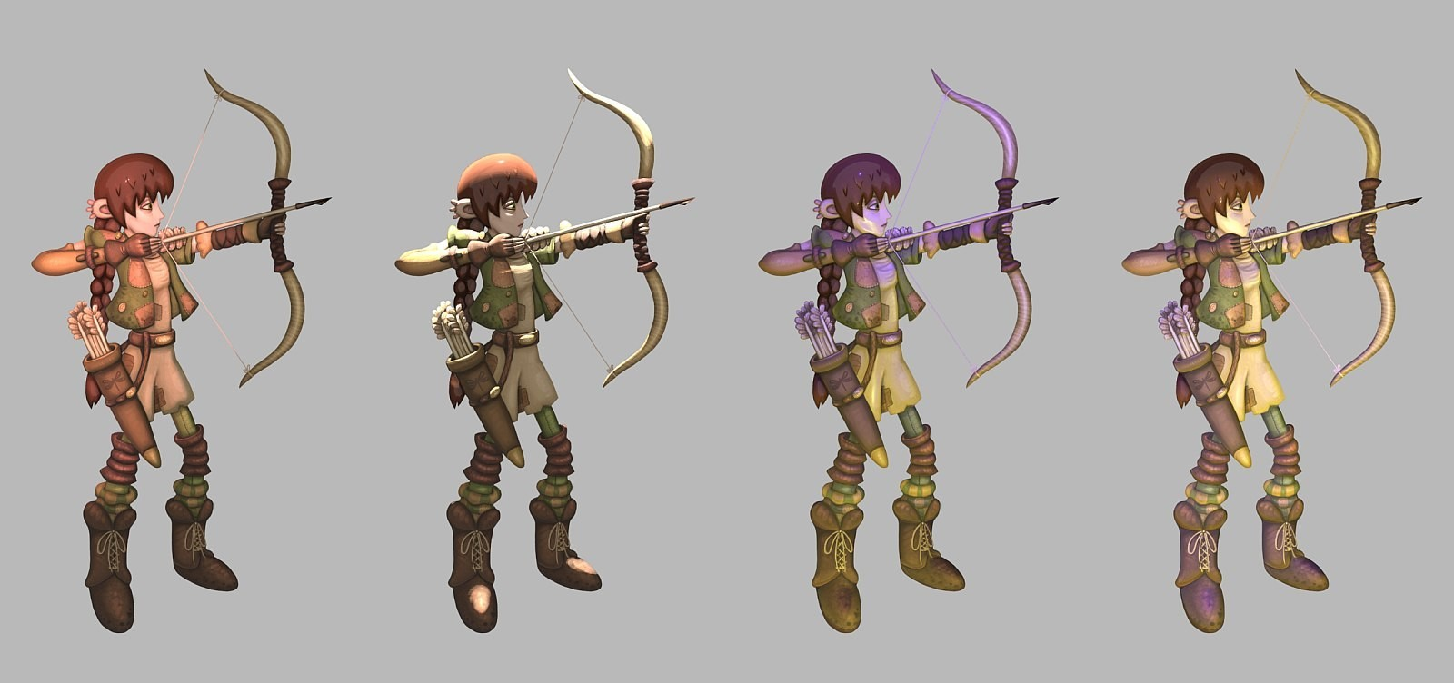 Different lighting renders with Blender of Jane the Elf