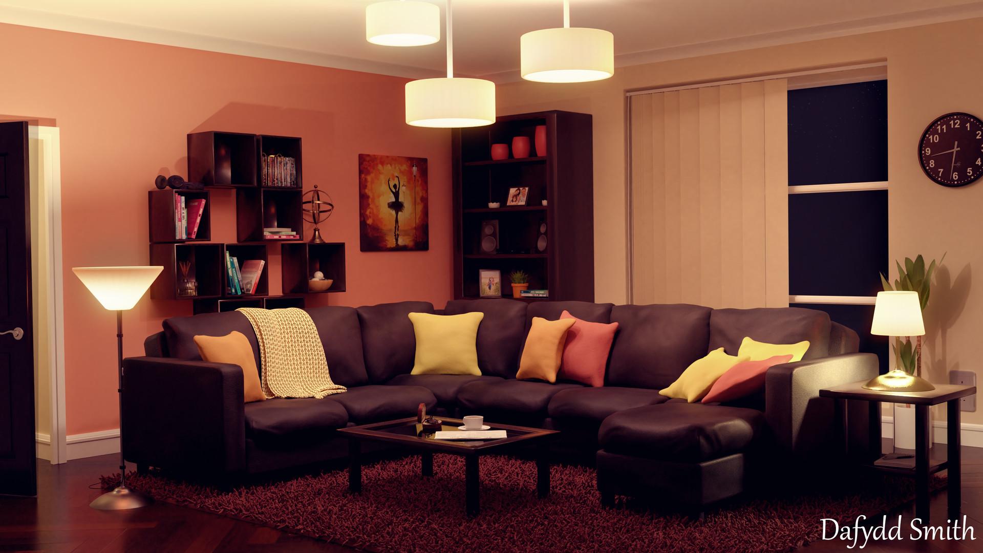 Superb Night Time Living Room Interior