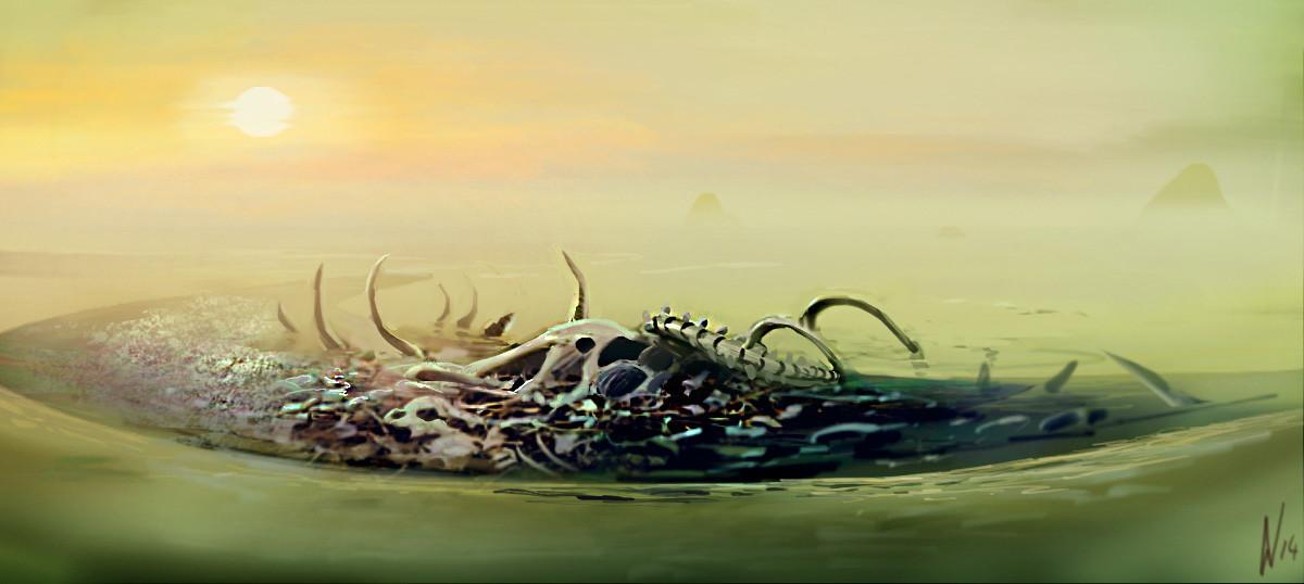 A reef consisting of monju bones