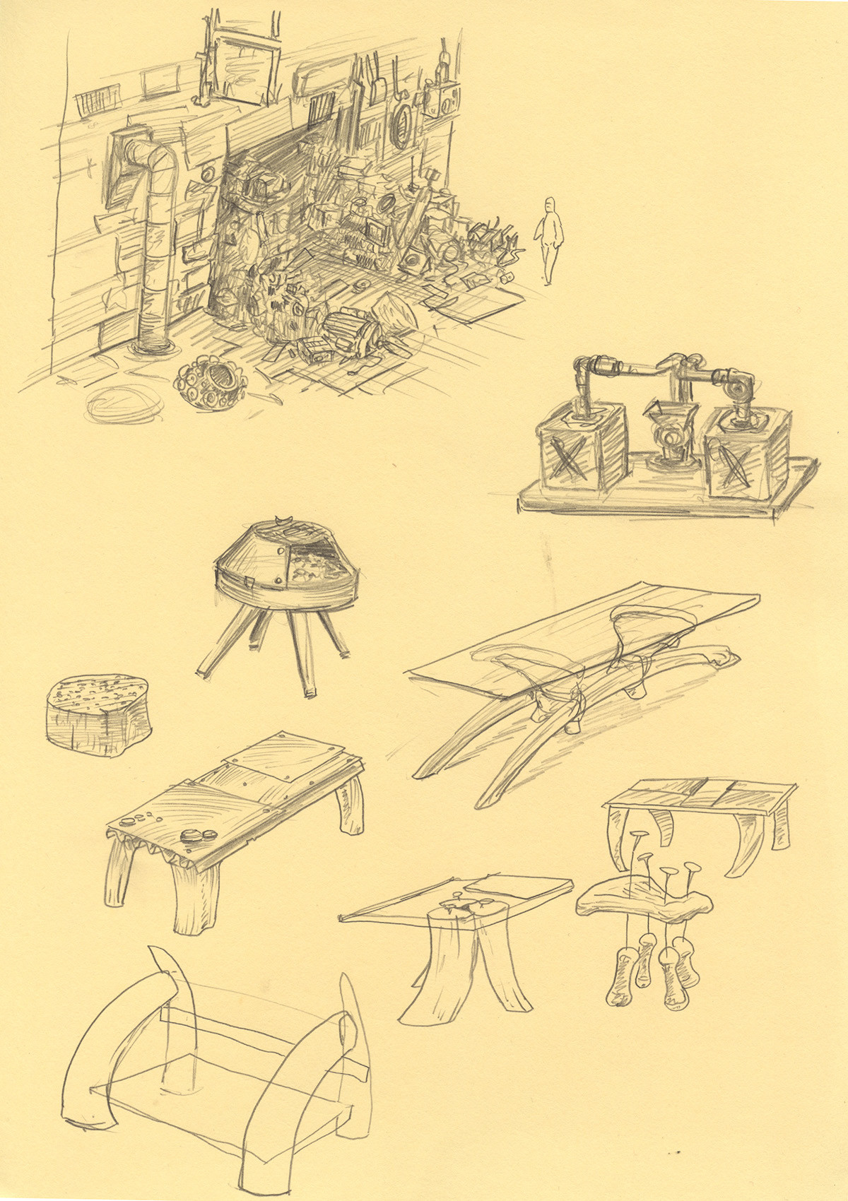 Concepts of furniture made of bones and an early design for the scrap-metal dealer shop