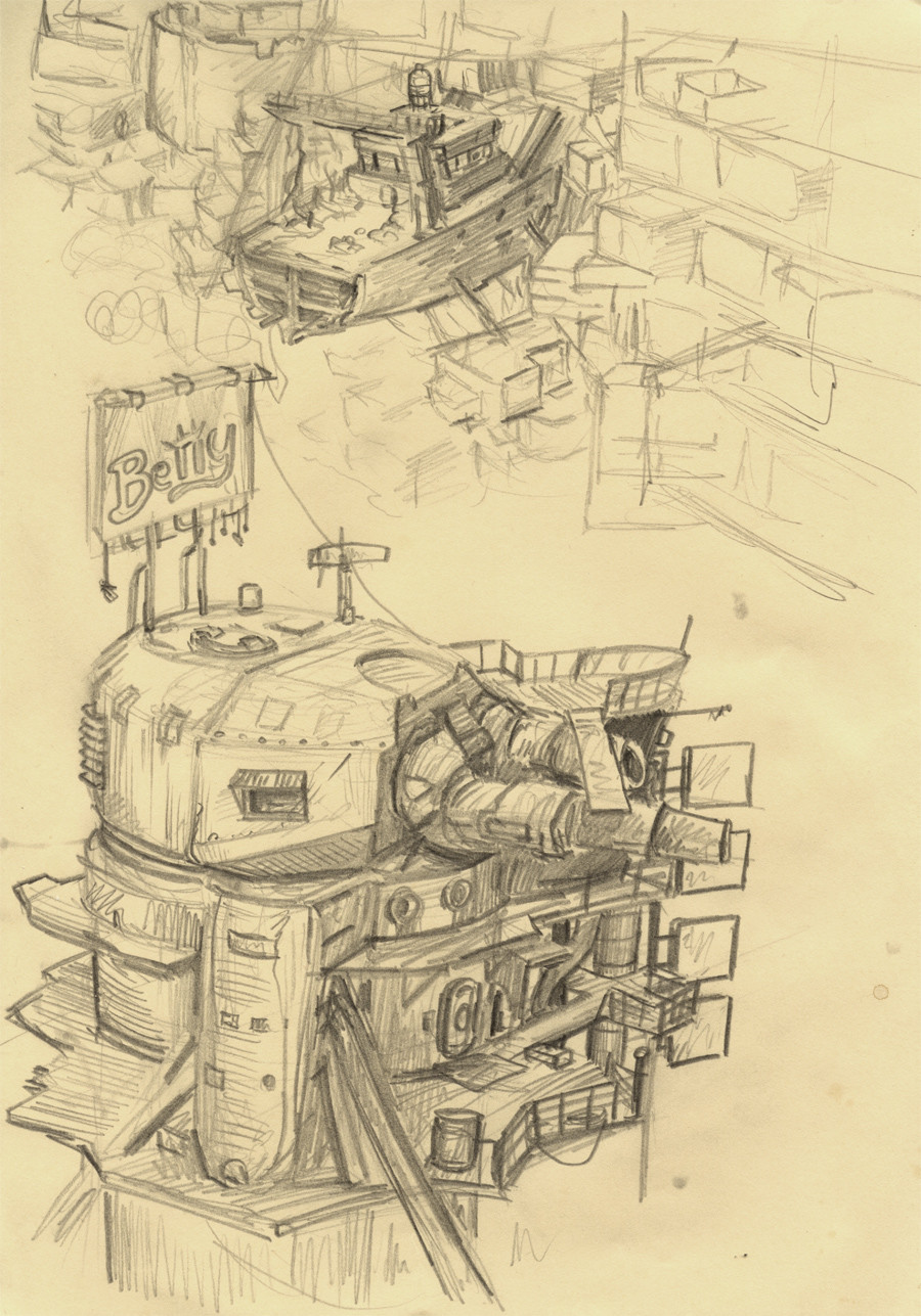 A concept for the exterior of the protagonists hut and a bar design made of an old heavy artillery
