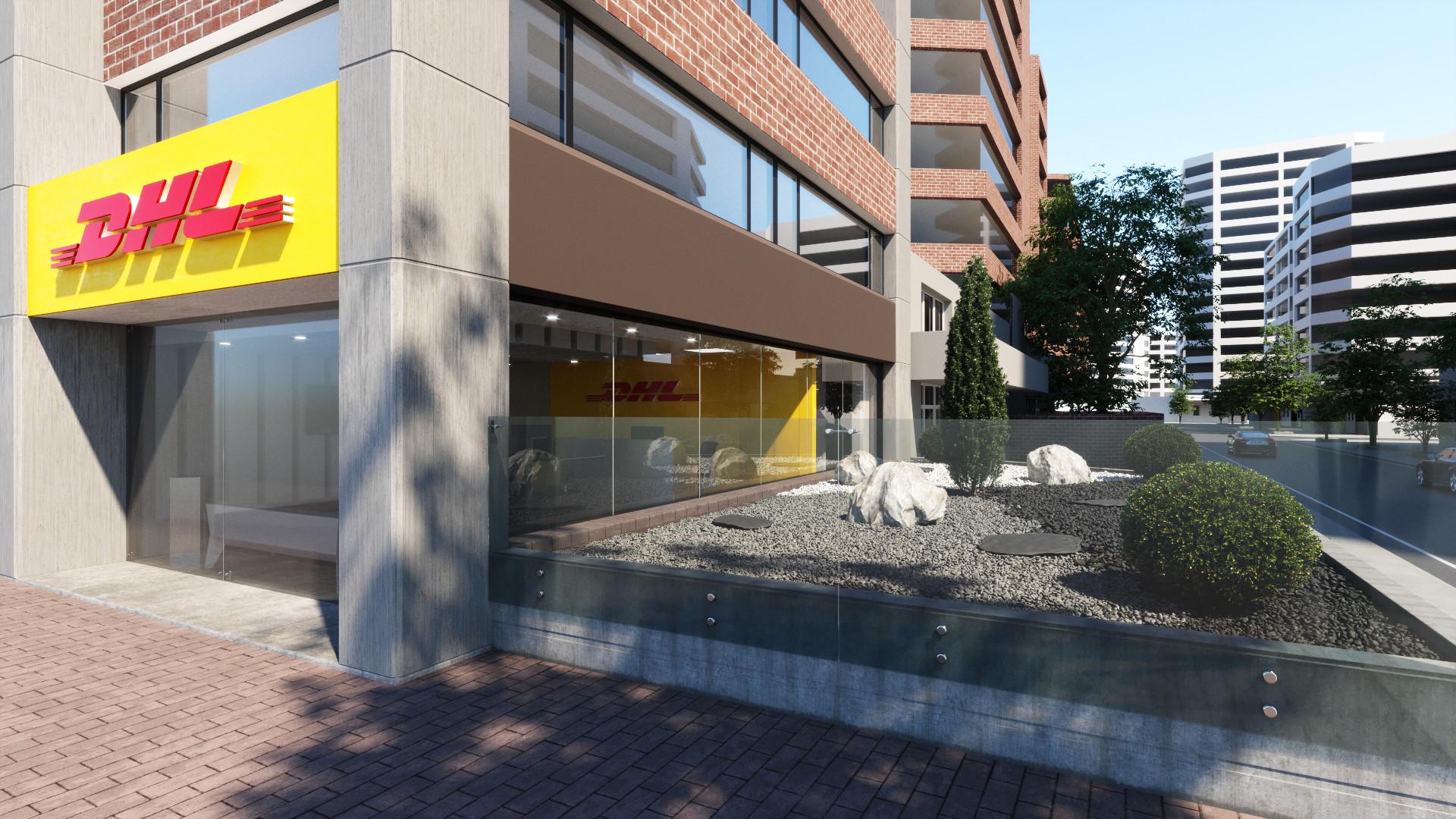 DHL office exterior garden